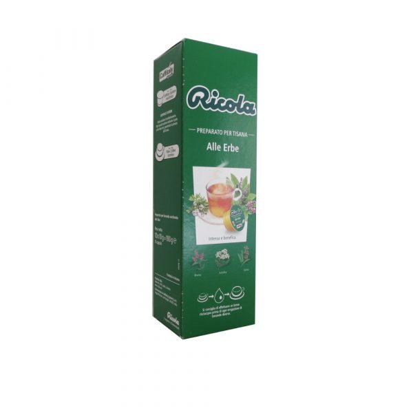 Confezione da 10 capsule di tisana Ricola alle Erbe.