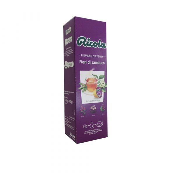 Confezione da 10 capsule di tisana Ricola Fiori di Sambuco.