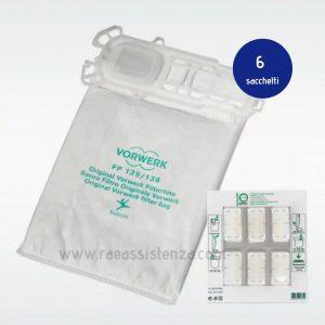 confezione da 6 Super filtrello + Dovina per aspirapolveri Vorwerk Folletto dei modelli VK 135 e VK136